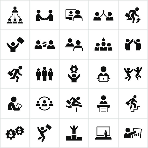 Black Business People Icons Business people, businessman, business woman, business man, business, white collar, icons, symbols. All lines/shapes expanded and merged. colleague stock illustrations