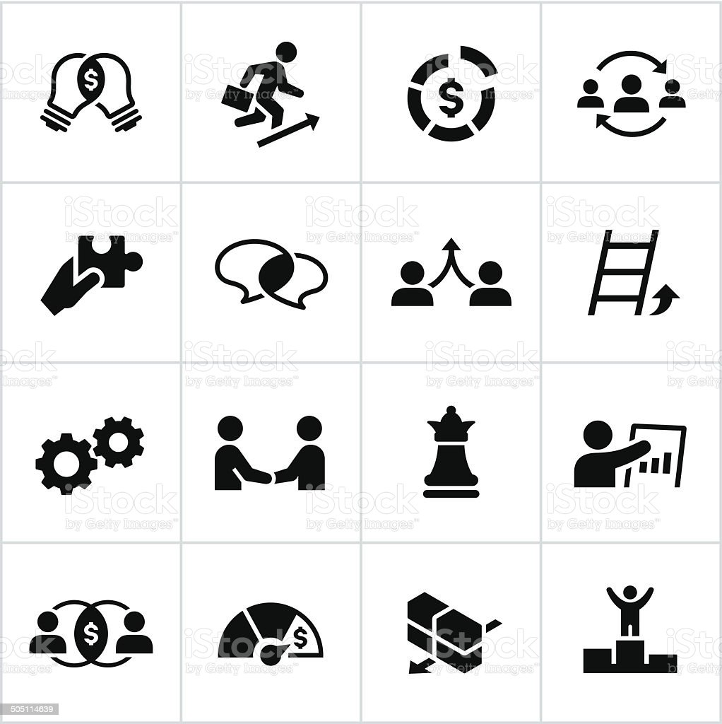 Black Business Strategy Icons vector art illustration