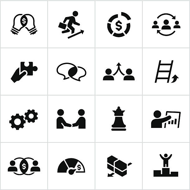 Black Business Strategy Icons Business strategy icons/concepts. All white strokes/shapes are cut from the icons and merged allowing the background to show through. coordination stock illustrations