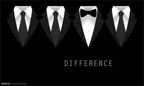 Black Business Suit with a Tie and Bow Tie Difference Concept Black Business Suit with a Tie and Bow Tie Difference Concept tuxedo stock illustrations