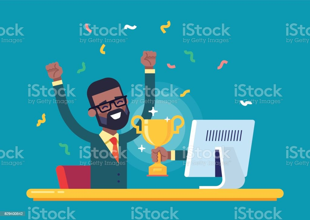 Black businessman got a gold award from monitor. vector art illustration