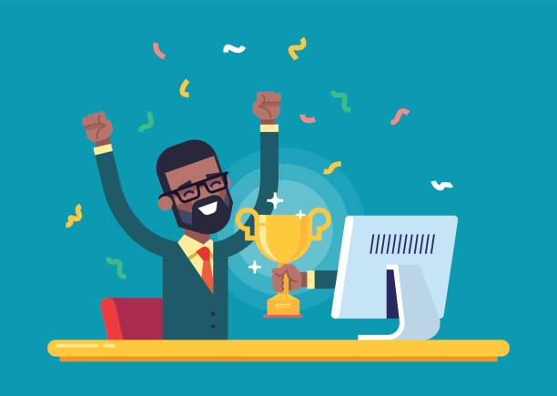 Black businessman got a gold award from monitor. Handsome african american businessman got a gold award in the online contest from monitor. Modern male character. Flat vector. incentive stock illustrations