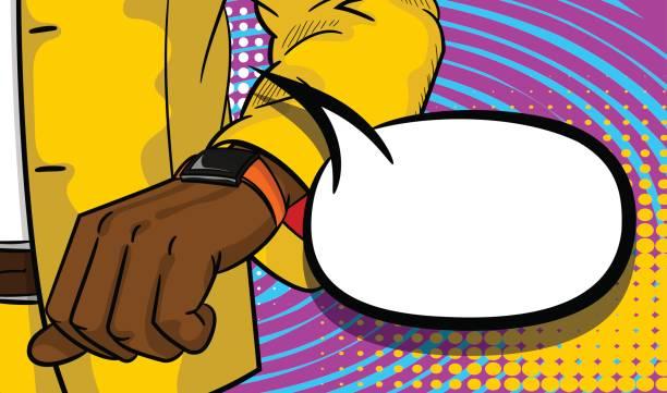 stockillustraties, clipart, cartoons en iconen met zwarte zakenman kijken horloge popart - alleen één jonge man