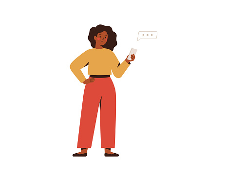 Black businesswoman chatting on a smartphone. Happy freelancer or office female working remotely use a mobile. African girl looking at the phone and typing the message.