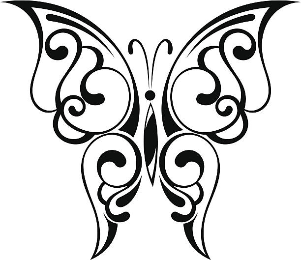 25e3bad26 Top 60 Silhouette Of Butterfly Tattoo Stencils Clip Art, Vector ...