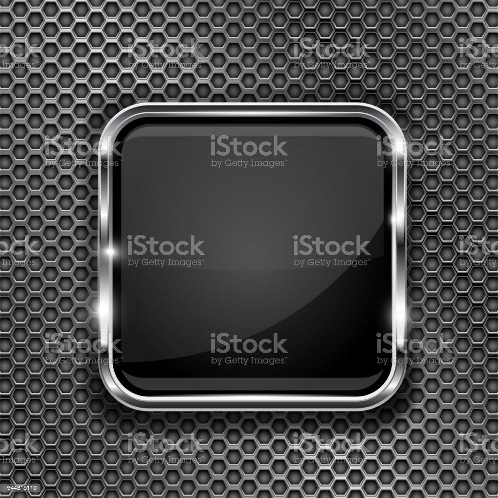 Marco De Botón Negro En El Fondo Perforado Icono 3d Cristal Cuadrado ...