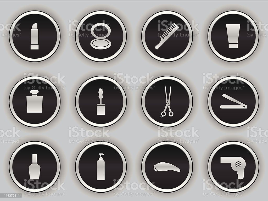 black button icons - daily necessities royalty-free black button icons daily necessities stock vector art & more images of beauty product