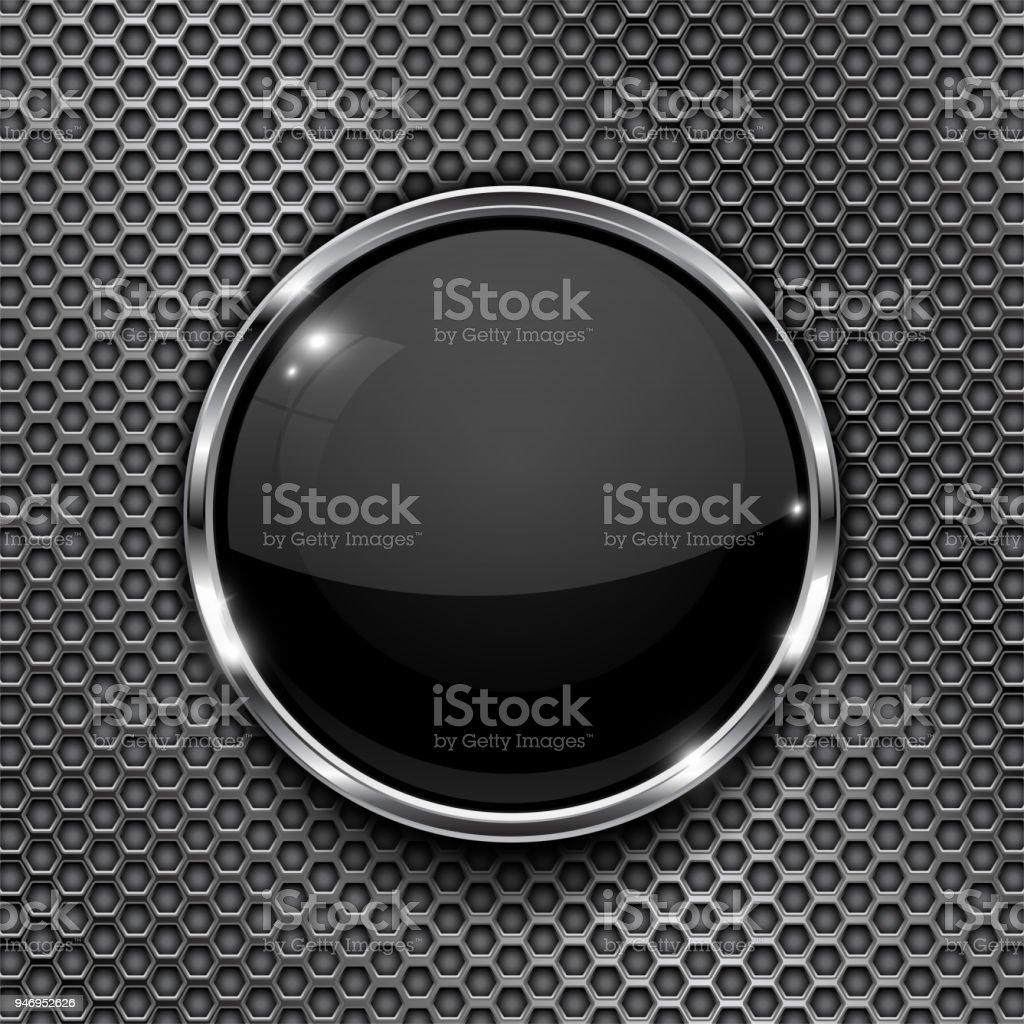 Botón Negro En El Fondo Perforado Icono 3d Redonda De Vidrio Con ...
