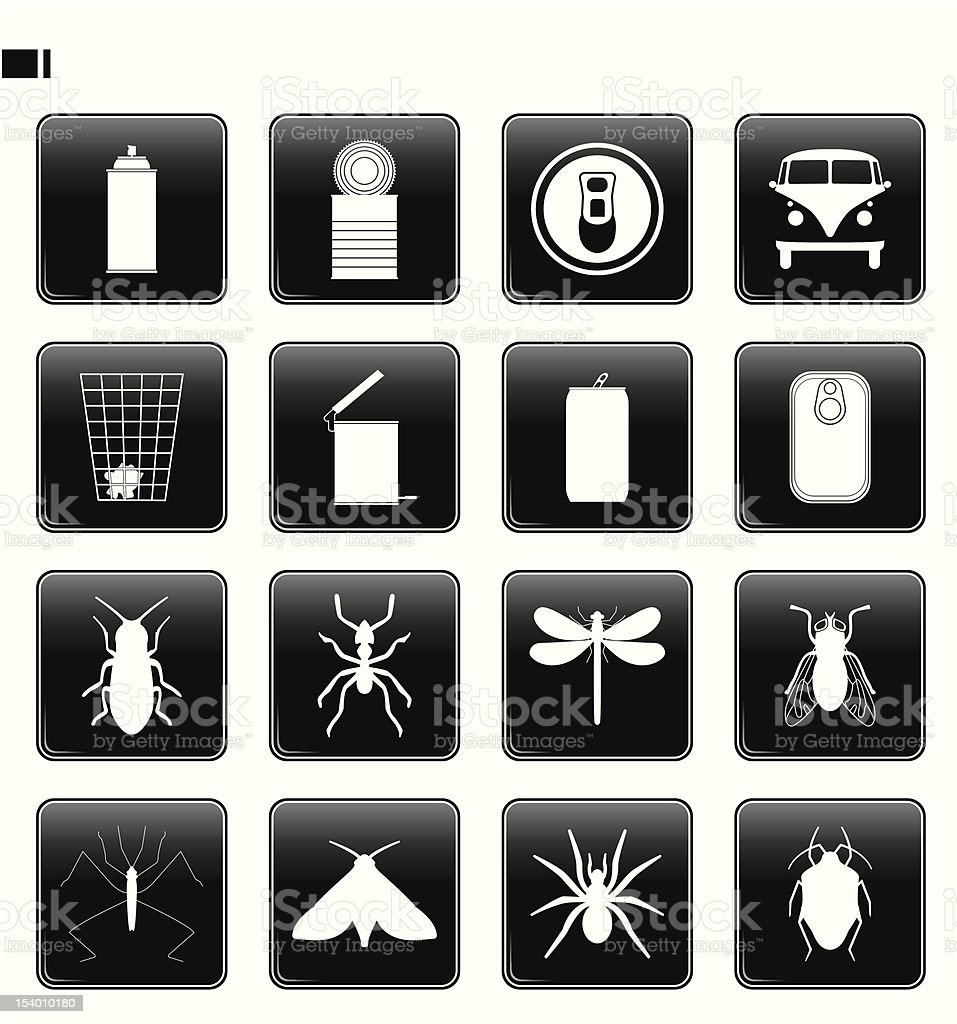 black button set 11 'can & insect' vector art illustration