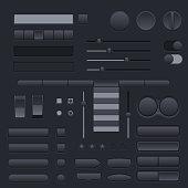 Black buttons set. Web interface icons. Vector 3d illustration