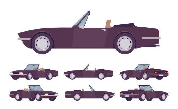 ilustrações de stock, clip art, desenhos animados e ícones de black cabriolet cat set - enjoying wealthy life