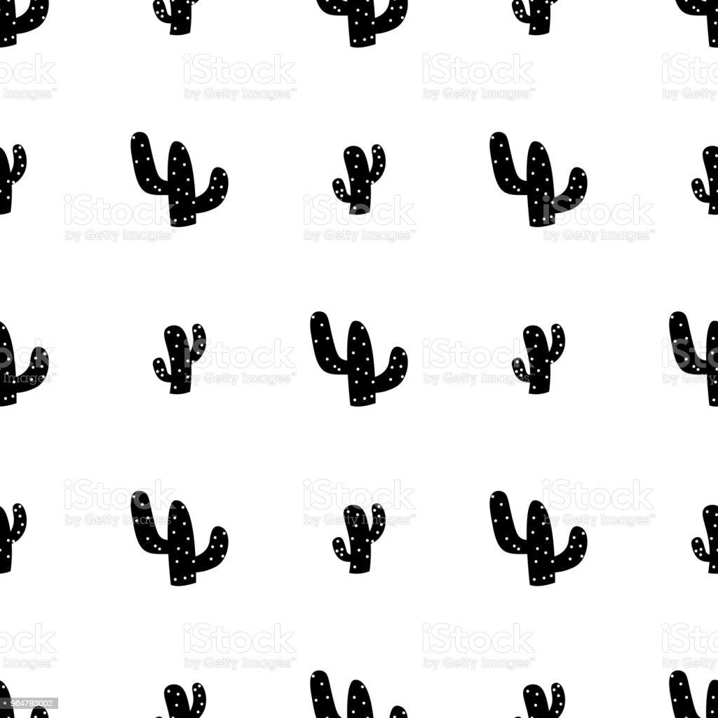 Black cactus seamless pattern royalty-free black cactus seamless pattern stock vector art & more images of art