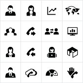 Call center icons. All white strokes/shapes are cut from the icons and merged allowing the background to show through.