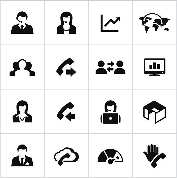 black call center icons - call center stock illustrations, clip art, cartoons, & icons