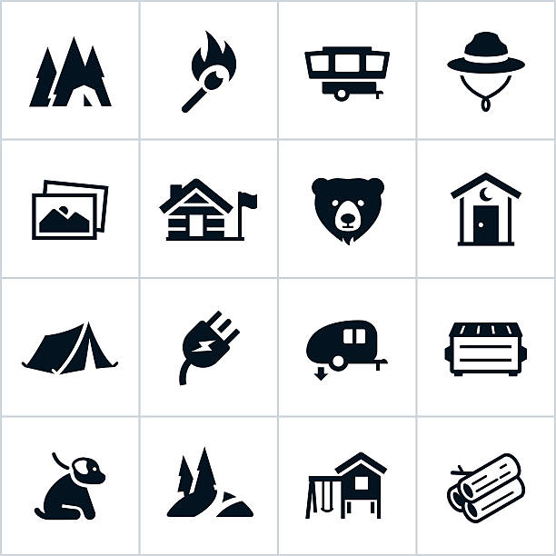 black campground icons - dumpster fire stock illustrations