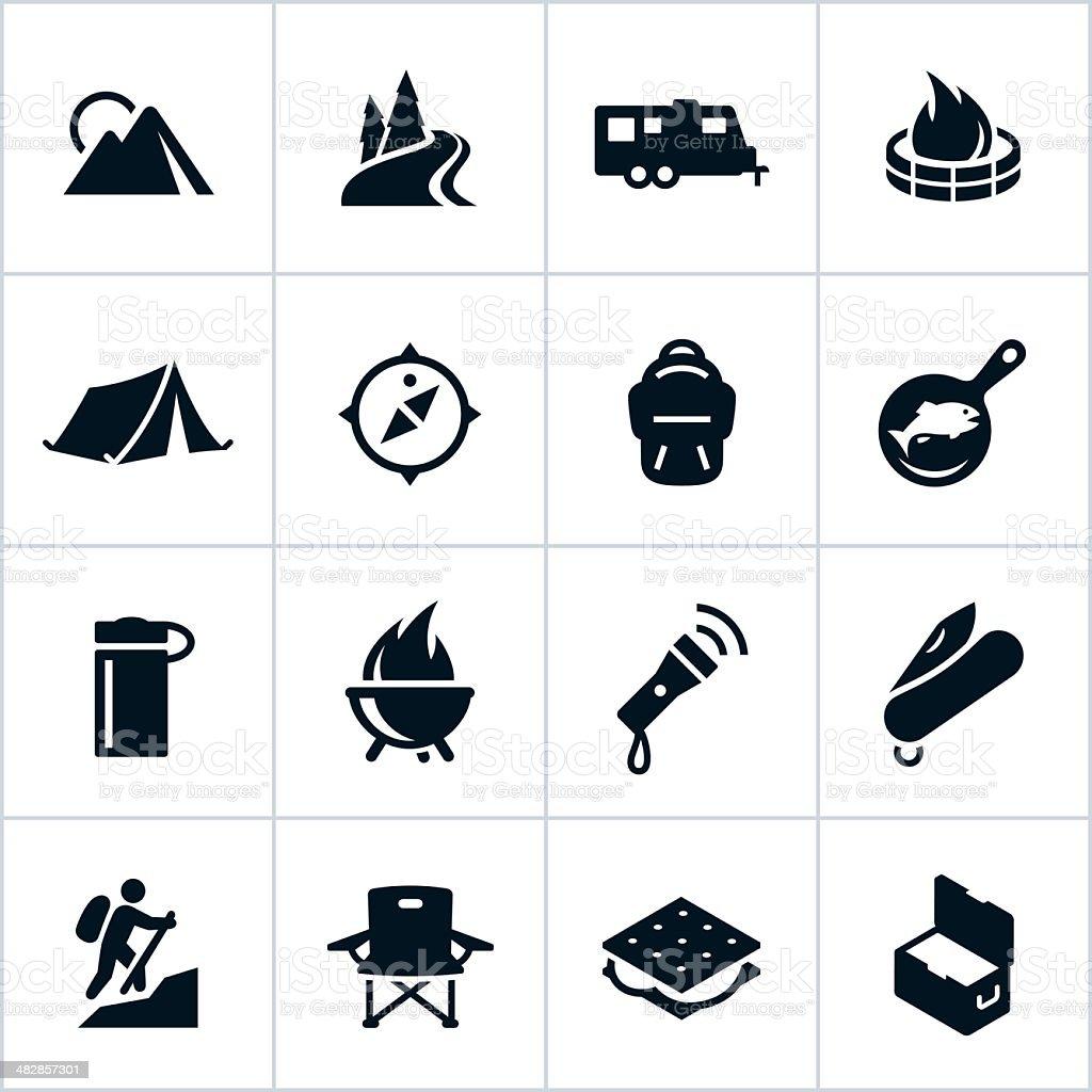 Black Camping Icons vector art illustration