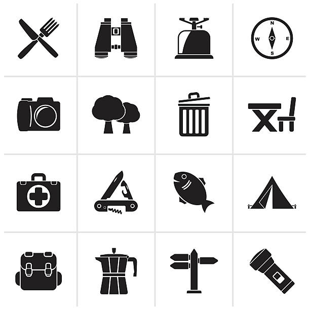 Black Camping, tourism and travel icons - Illustration vectorielle