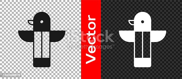 istock Black Canadian totem pole icon isolated on transparent background. Vector 1343466876