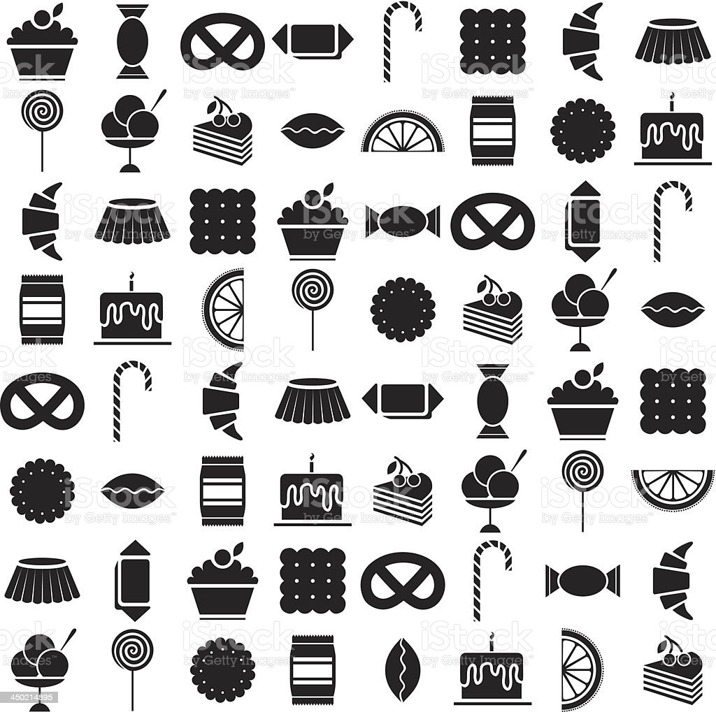 black candy icons set vector art illustration
