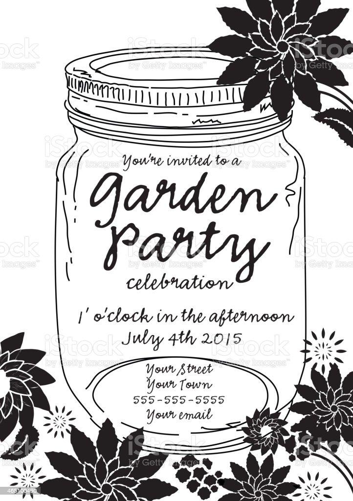 Black Canning Jar Spring Garden Party Invitation Design Template ...
