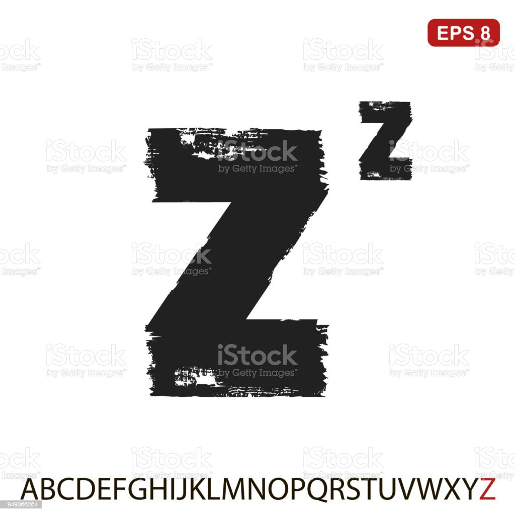Black Capital Handwritten Vector Letter Z On A White Background