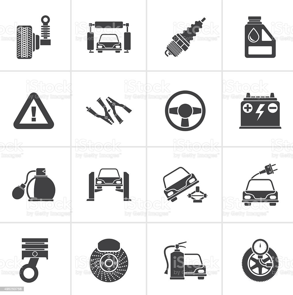 Black Car and road services icons vector art illustration