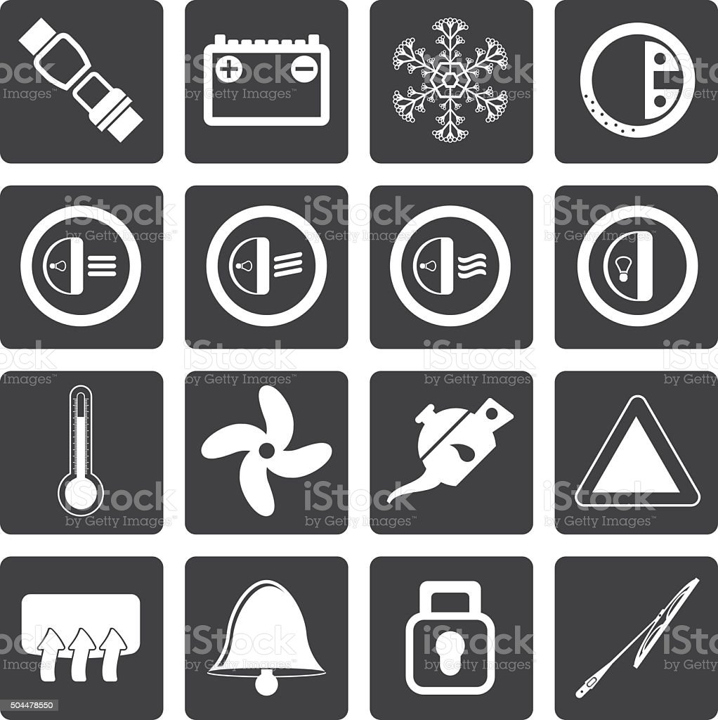 Black Car Dashboard icons vector art illustration