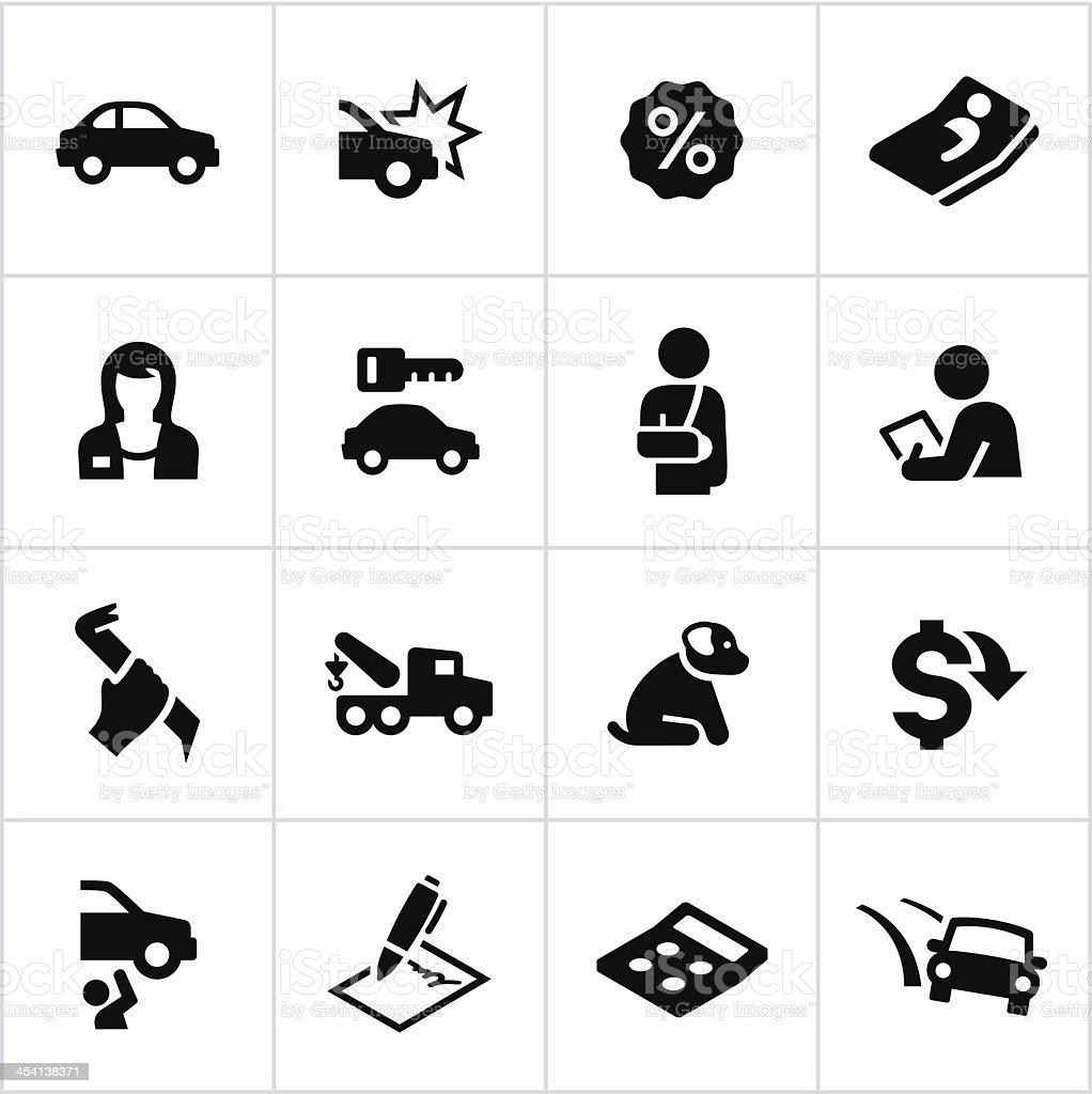 Black Car Insurance Icons royalty-free stock vector art