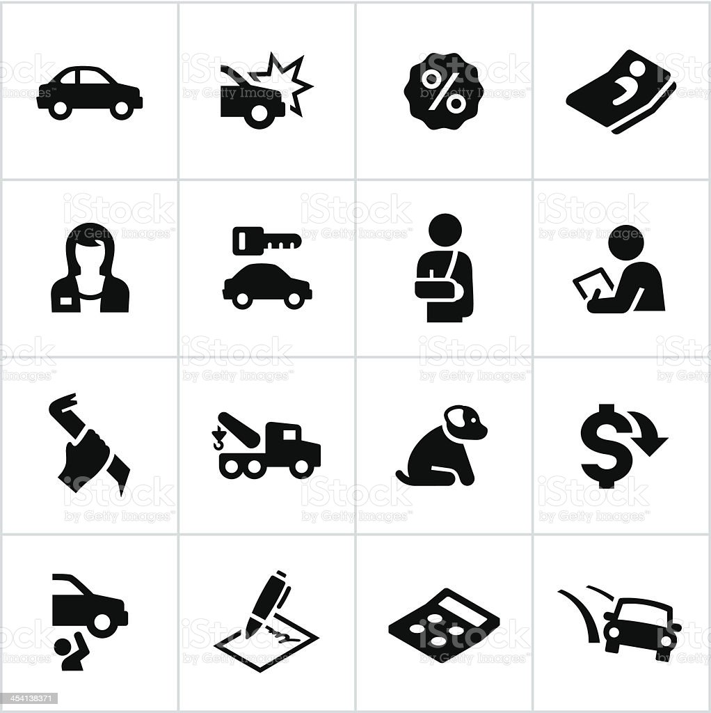 Black Car Insurance Icons vector art illustration