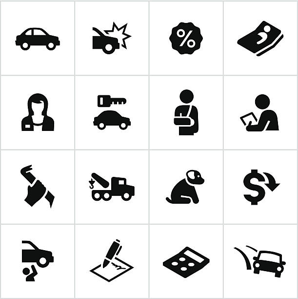 Black Car Insurance Icons vector art illustration