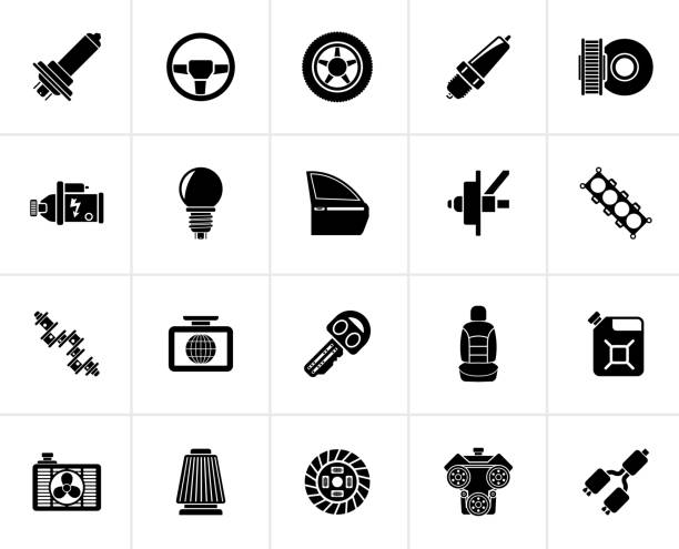 Black Car part and services icons 1 vector art illustration