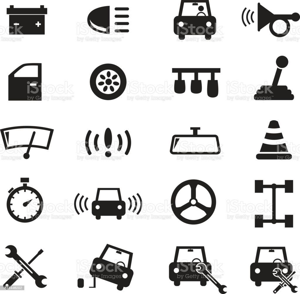 Black car parts and vector icons set about automobiles, driving, racing, repair services, simple isolated on white background vector art illustration
