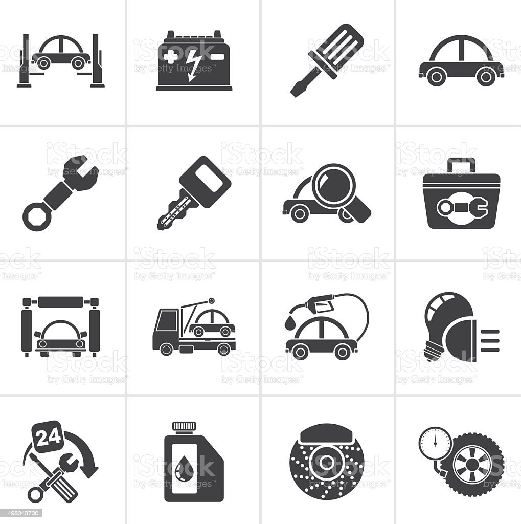 Black Car service maintenance icons vector art illustration