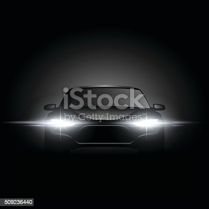 Black car silhouette with light effect in vector