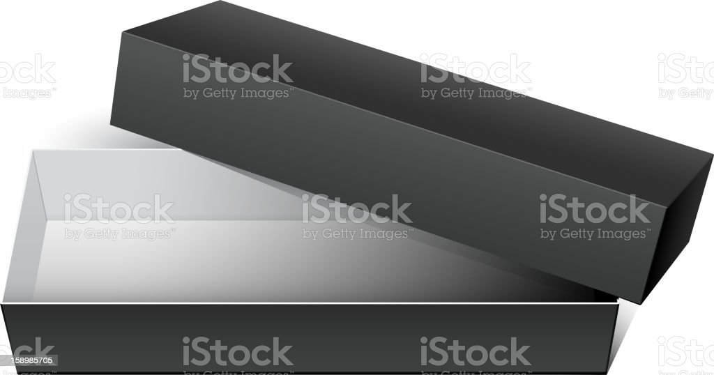 Black Cardboard Package Box Opened royalty-free stock vector art
