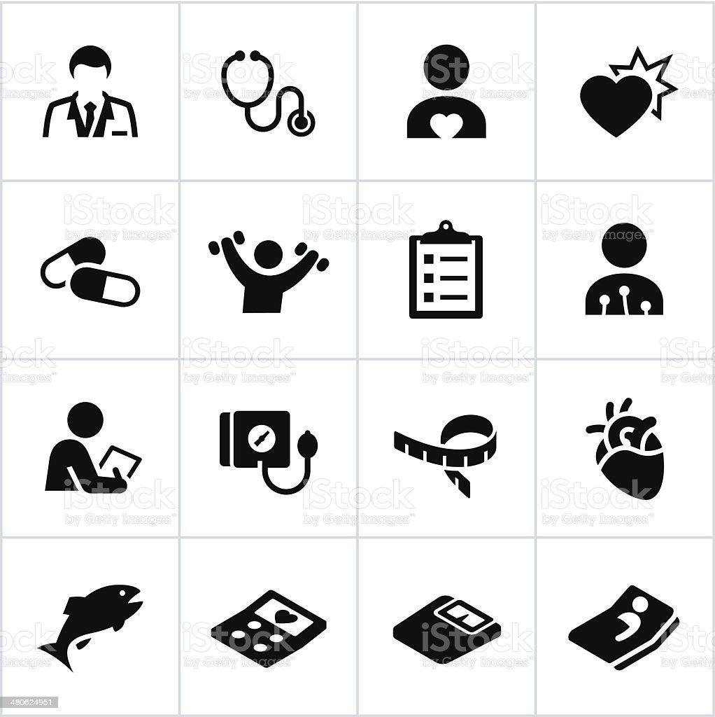 Black Cardiology Icons vector art illustration