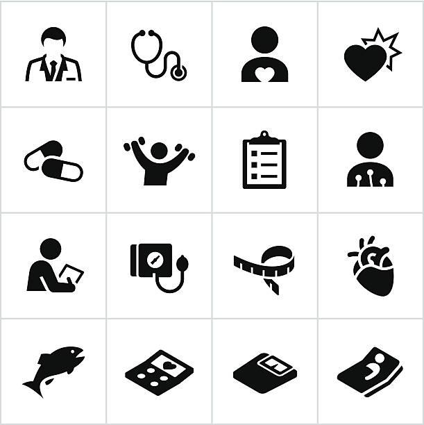 bildbanksillustrationer, clip art samt tecknat material och ikoner med black cardiology icons - kardiolog