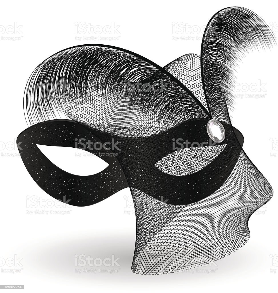 black carnival half-mask and feathers royalty-free stock vector art