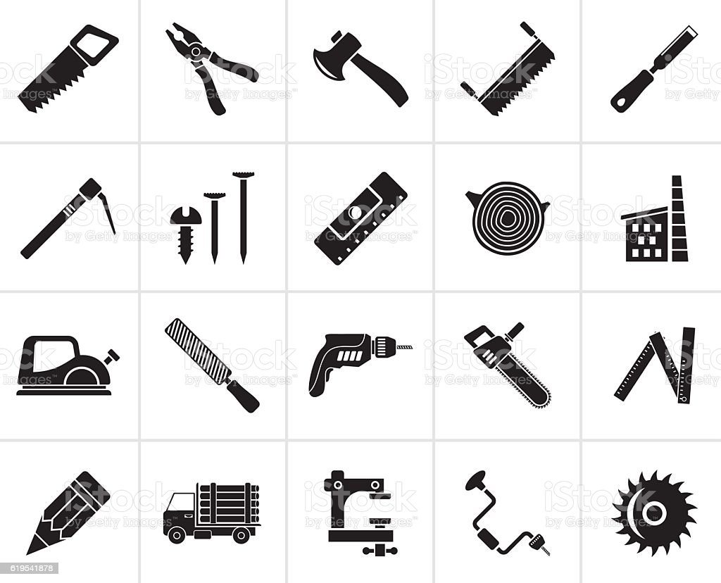Black Carpentry Logging And Woodworking Icons Stock Illustration Download Image Now Istock
