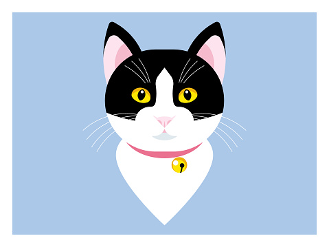 Black cartoon cat with yellow eyes. Head of cat in flat style.