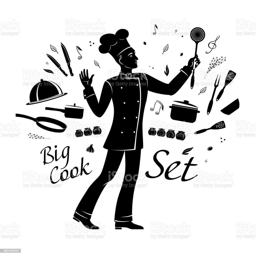 黒漫画図面シェフは調理器具やスパイスはミュージカル オーケストラ楽長