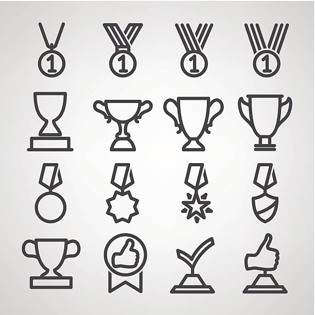 Black cartoon image of trophies and awards trophy and awards icons set. Vector illustration. crown headwear stock illustrations