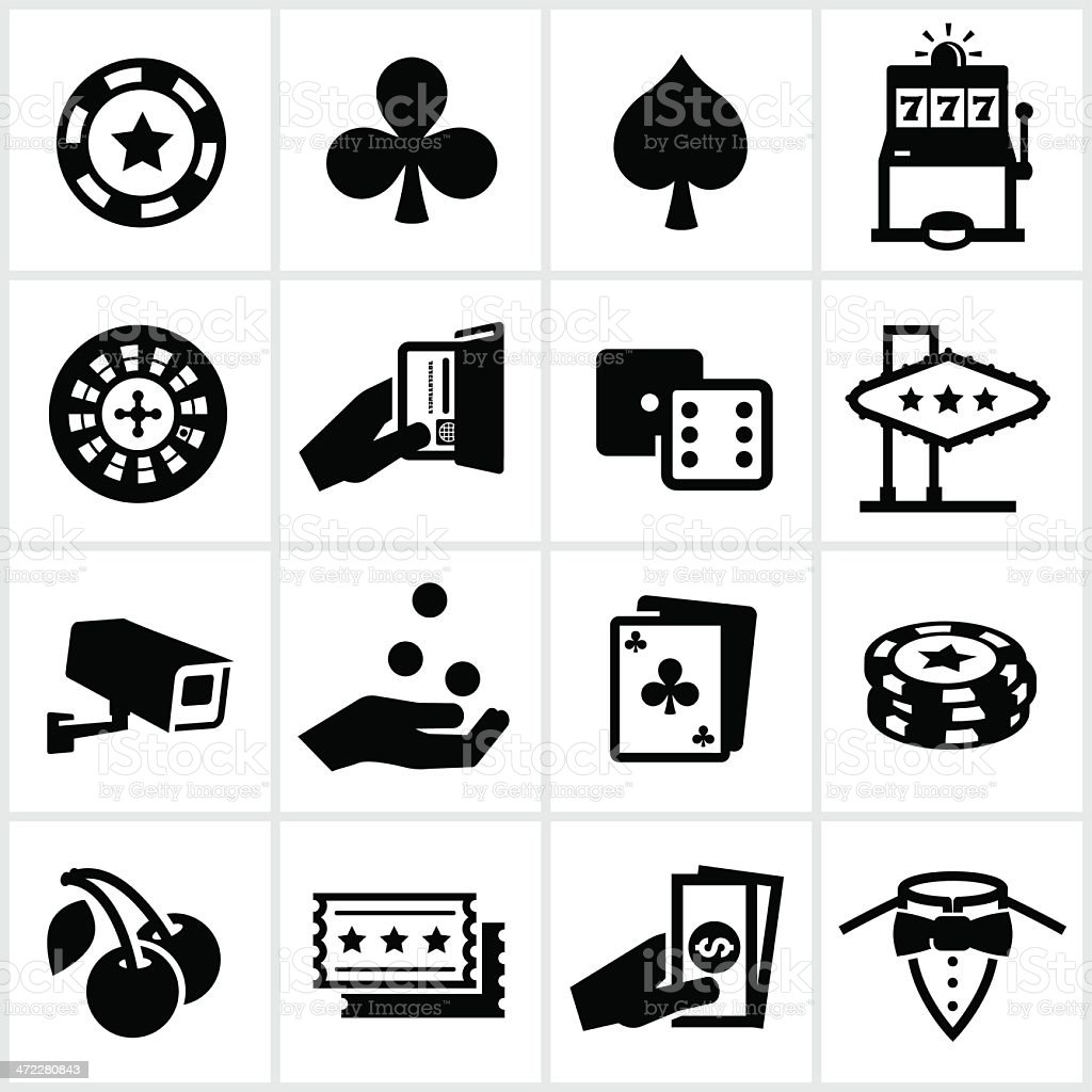Black Casino Icons vector art illustration