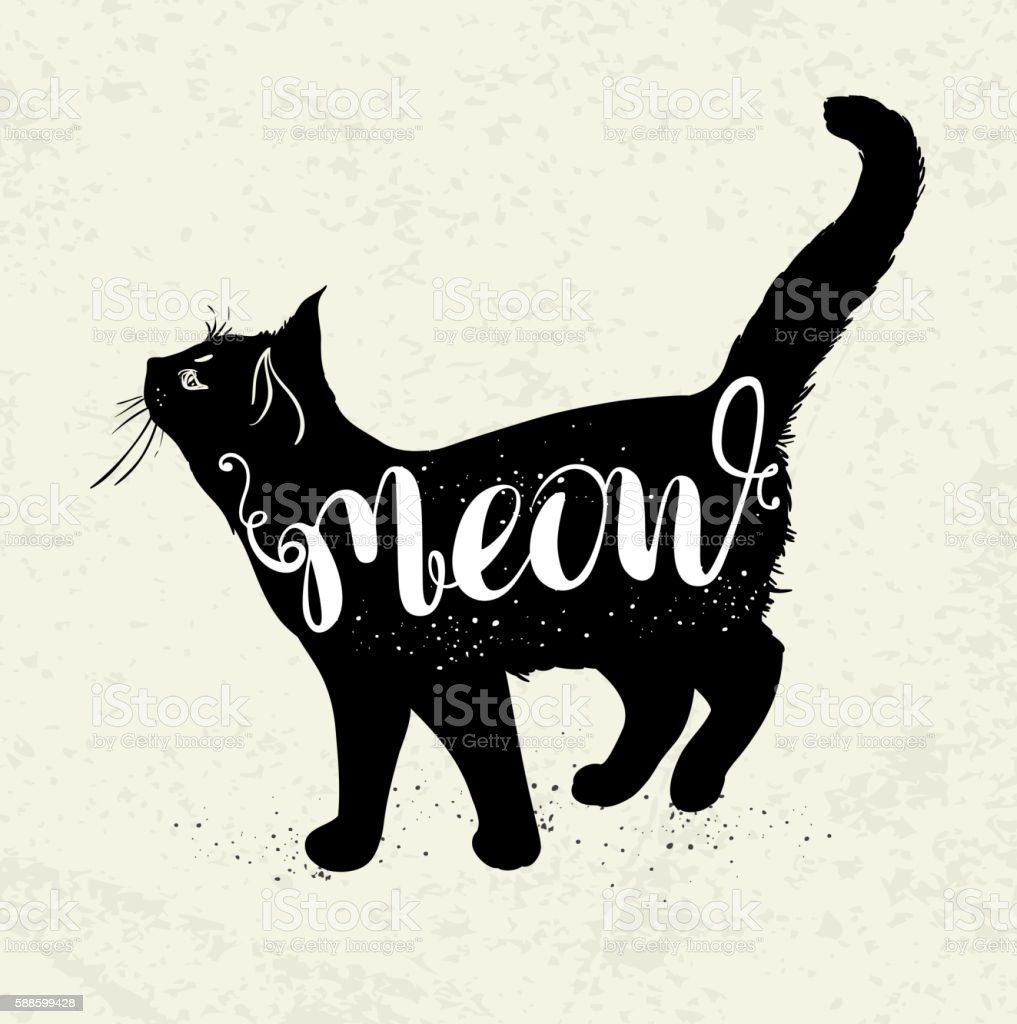 Black cat and lettering vector art illustration