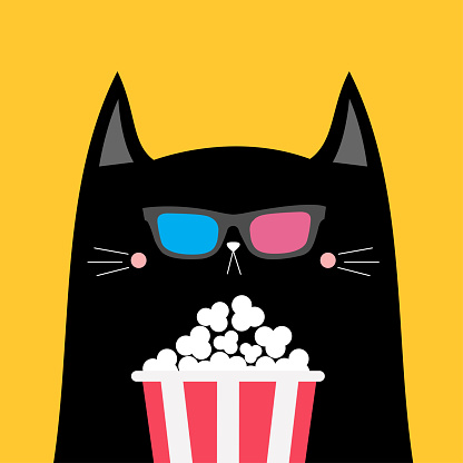 Black cat and popcorn. Cinema theater. Cute cartoon funny character. Film show. Kitten watching movie in 3D glasses. Kids print for tshirt notebook cover. Yellow background. Isolated. Flat design