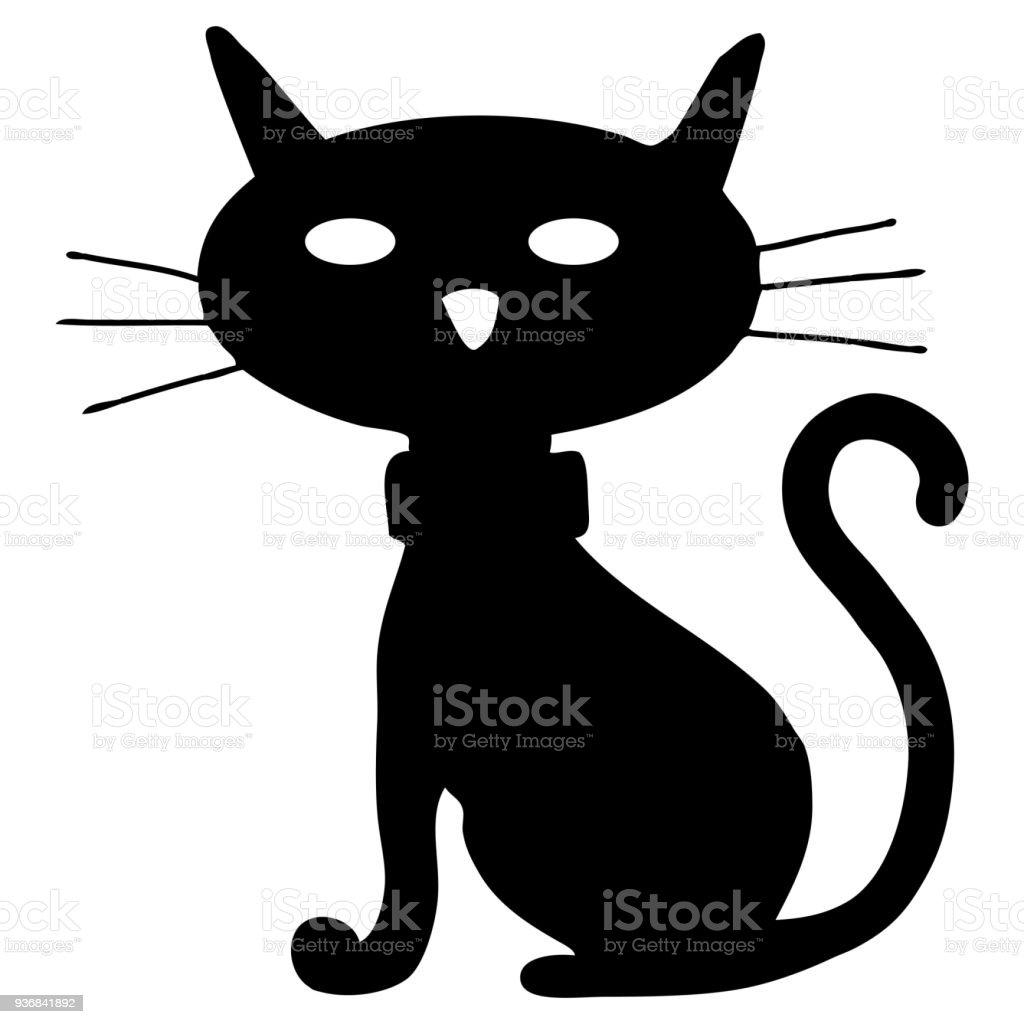 黒猫アート イラスト シルエット アイコンのベクターアート素材や画像