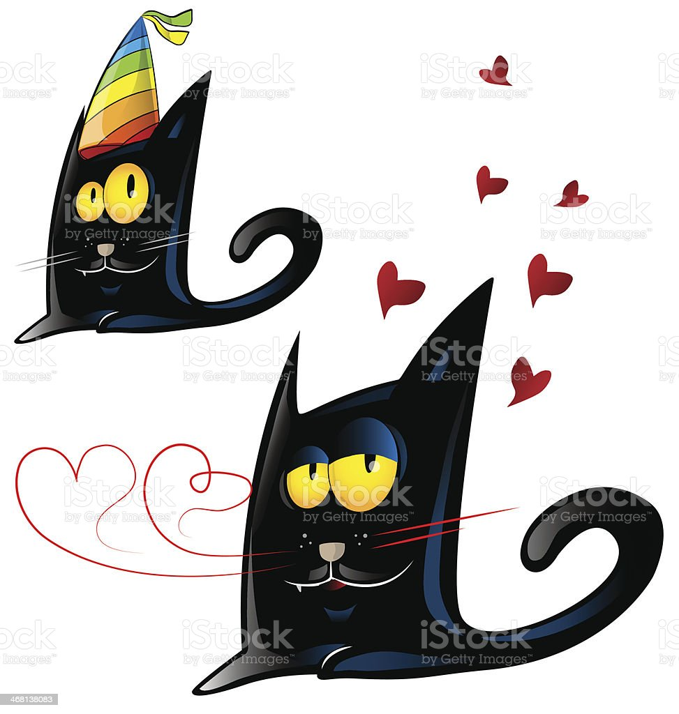 black cat cartoon royalty-free stock vector art