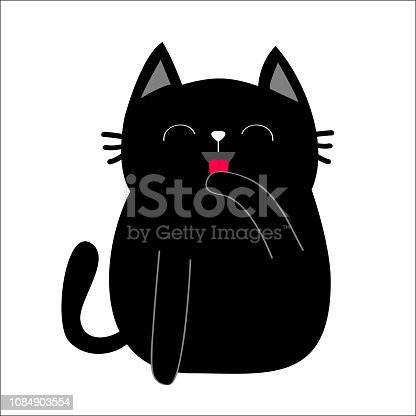 Black cat cat licking paw hand. Face head, tongue, moustaches, pawprint silhouette. Kitten washing itself. Adopt me. Cute cartoon character Help animal Pet adoption Flat design White background Vector