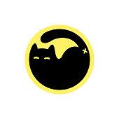 Black cat symbol in yellow circle. Simple cat silhouette, minimalist vector illustration.