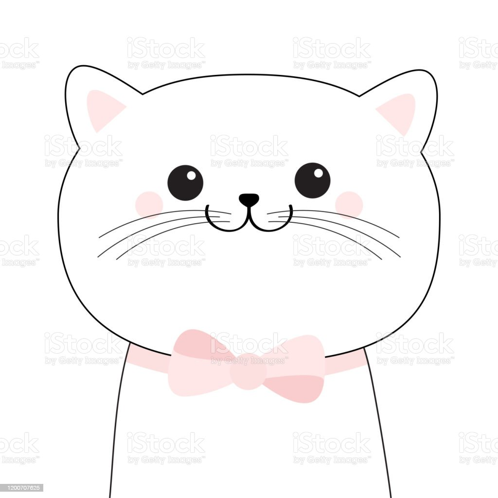 Black Cat Face Head Doodle Silhouette Kitten With Pink Bow Cute